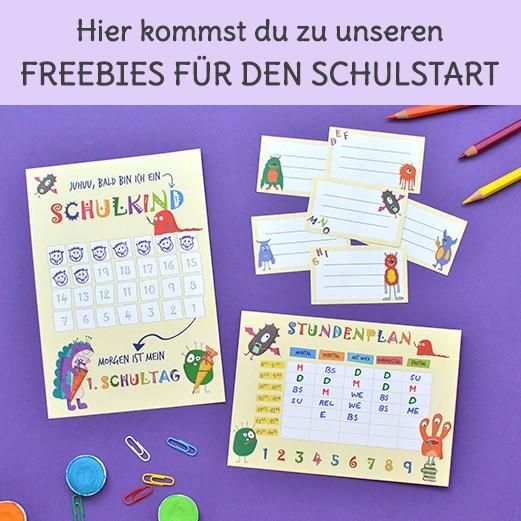 Freebies für den Schulstart Stundenplan, Heftetiketten und Countdown