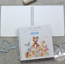 Taufe Gästebuch blanko mit süßer Tierfamilie