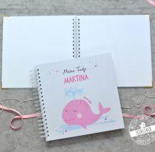 Taufe Gästebuch mit Wal, personalsierbar mit Namen und Datum