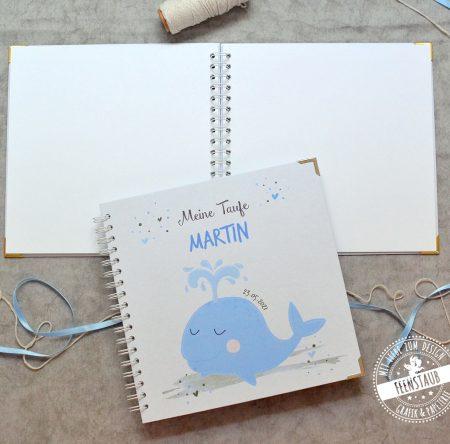 Taufe Gästebuch mit Wal in blau, personalsierbar mit Namen und Datum
