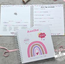 Personalsierbares Gästebuch mit Fragen an die Familie und Freunde