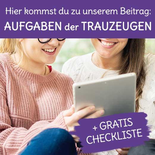 Trauzeugen und ihre Aufgaben, Tipps Infos und gratis Checkliste