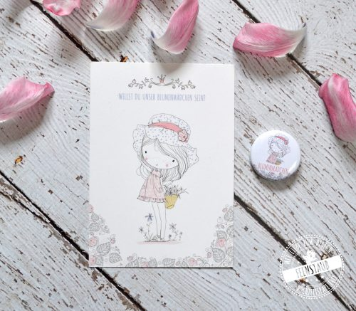 Blumenmädchen Karte mit Button