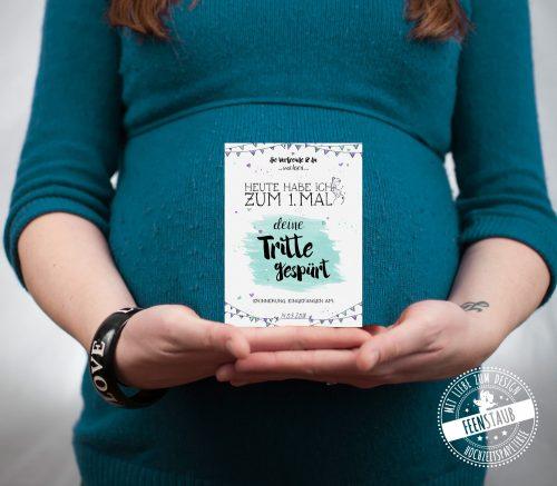 Karten für die Schwangerschaft - erste Tritte gespürt
