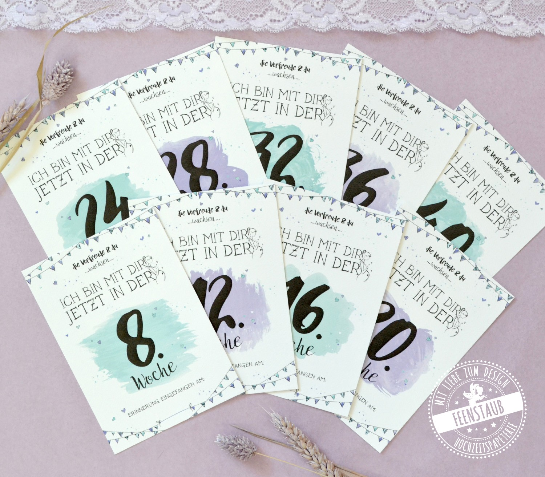 Geschenk zur Schwangerschaft - Milestonecards