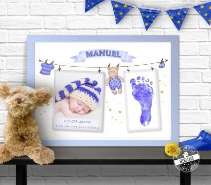 Erinnerung an die Geburt - Foto mit Fußabdruck