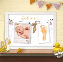 Erinnerung zur Geburt Bild mit Babyfoto und Fußabdruck