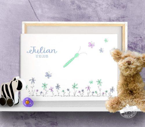 Bild mit Schmetterling für Fußabdruck von Neugeborenen