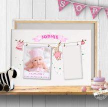 Leinwand mit Babyfoto und Platz für Fußabdruck