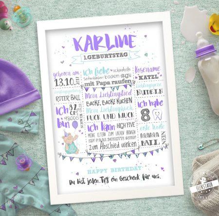 Babyprint für den ersten Geburtstag mit Babydaten