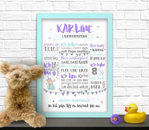 Print zum 1. Geburtstag, Babys erste Worte, Lieblingsspielzeug