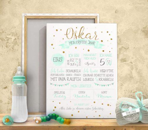 Babyprint auf Leinwand zum ersten Geburtstag