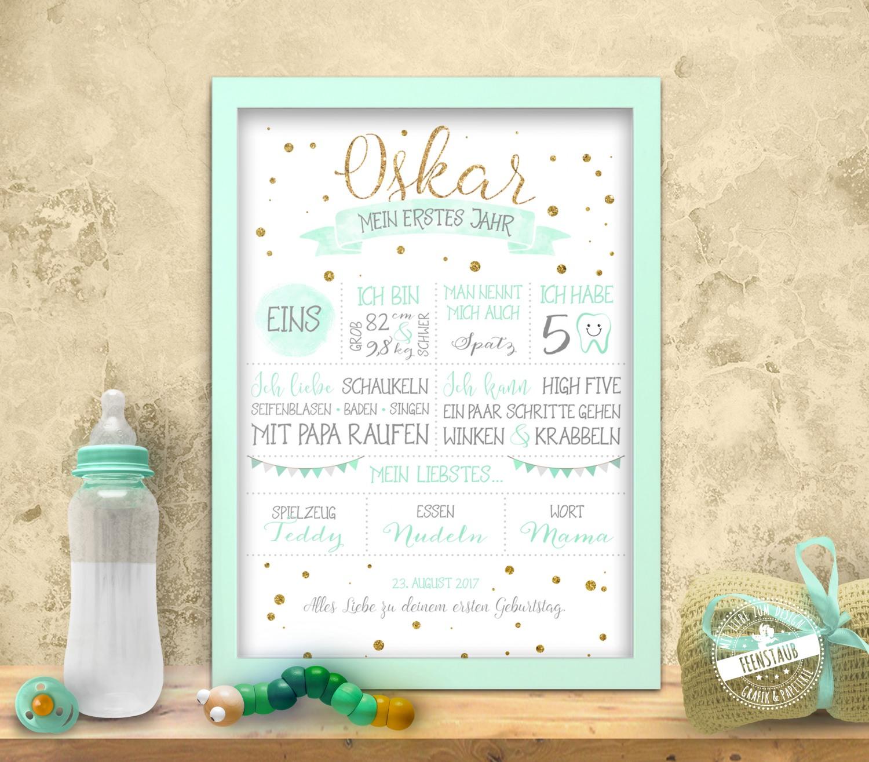 Babyprint für den ersten Geburtstag auf Leinwand - feenstaub.at | SHOP