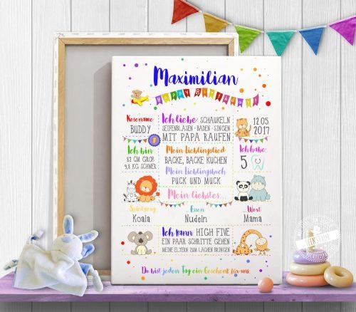 buntes Bild für Kinderzimmer, individualisierbar