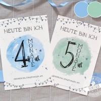Meilensteinkarten für erste Babyjahr in blau und grün