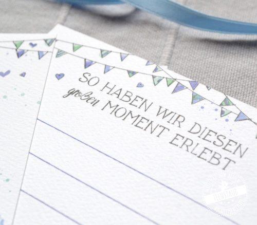 Meilensteinkarten wie ein Tagebuch für das erste Jahr