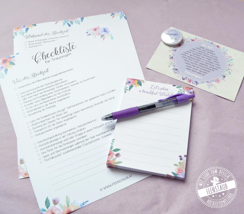 Braut und Trauzeugin können mit dieser Checkliste und unserem Block sofort mit der Planung los legen