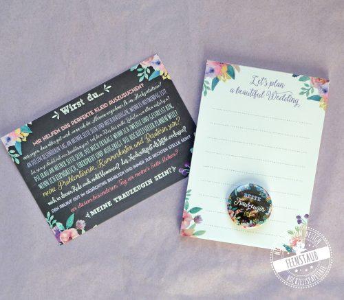 Trauzeugenkarte mit Block für die Hochzeitsplanung