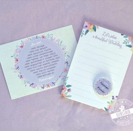 Karte für die Trauzeugin mit Button und Block für die Hochzeitsplanung