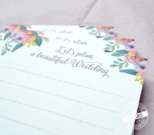 Block für die Hochzeitsplanung