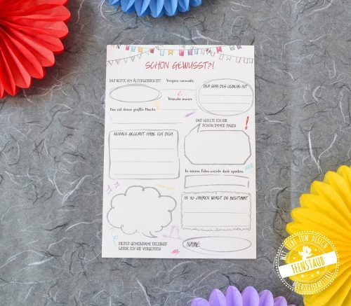 Karten mit Fragen an die Gäste über das Geburtstagskind