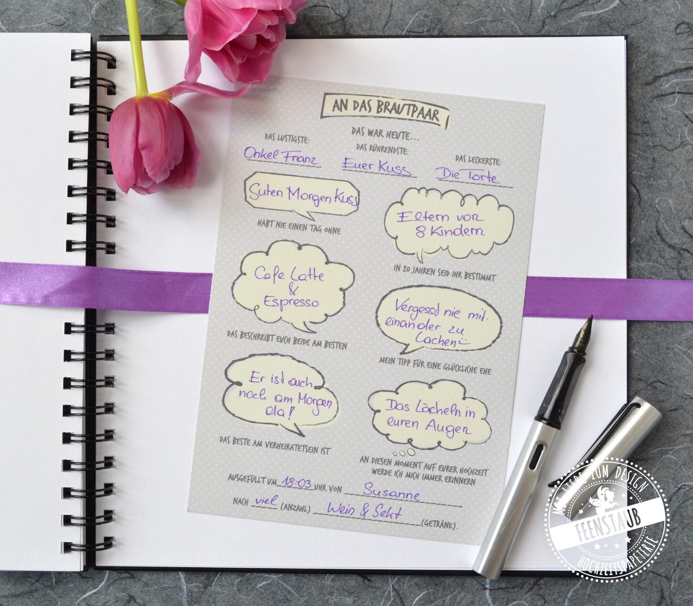 Gästekarte mit vorgedruckten Fragen für Hochzeitsgäste