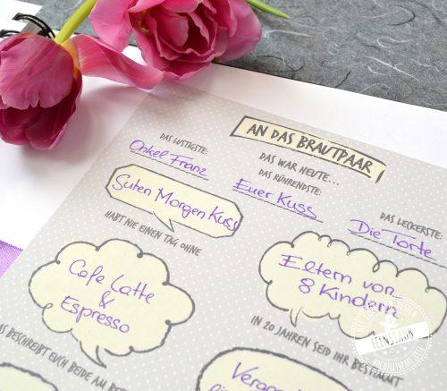 Gästebuchkarten mit Sprechblasen und vorgedruckten Fragen