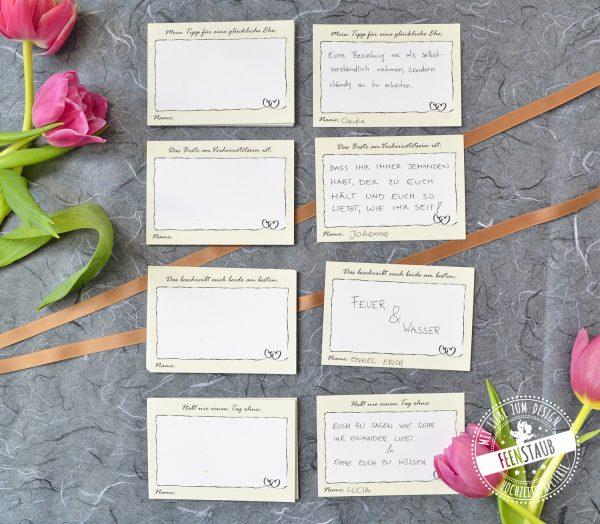 Für die Hochzeit Gästekarten