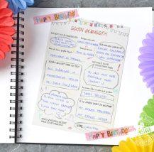 Karten zum Ausfüllen vor Geburtstagsgäste