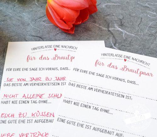 Gästebuchkarten in Rot und Schwarz