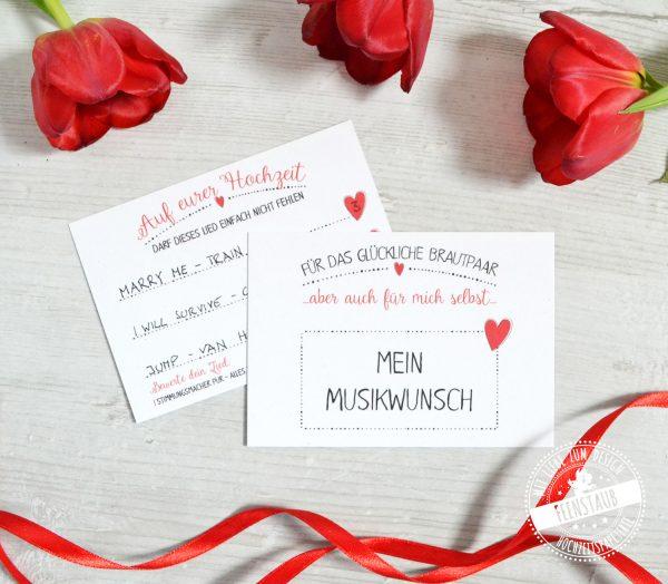 Musikwunschkarten an den DJ auf einer Hochzeit