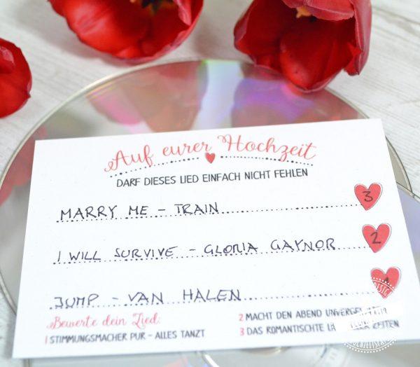 Karten zum Ausfüllen für Hochzeitsgäste
