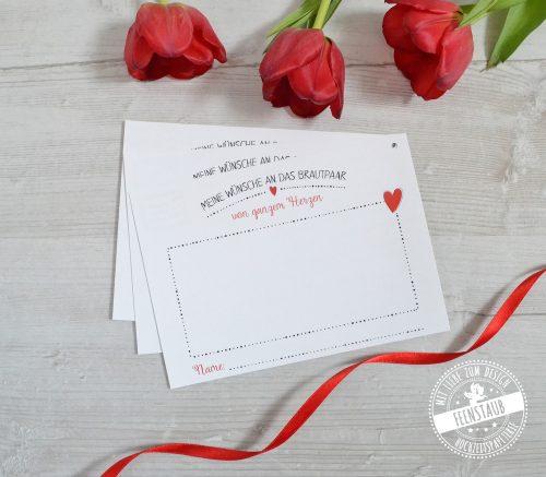 Ballonflugkarten für die Hochzeit mit rotem Herz