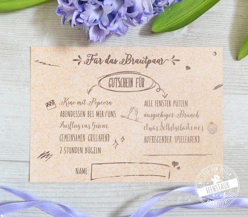 Luftballon Karten mit Gutschein ans Brautpaar