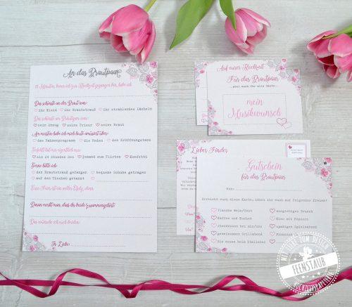 Kartenset bestehend aus Gästebuchkarten, Luftballonkarten und DJ Karten