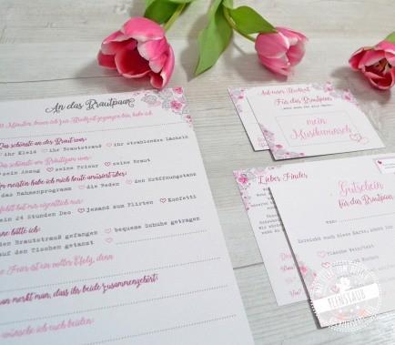 Kartenset für Hochzeit mit Blumen