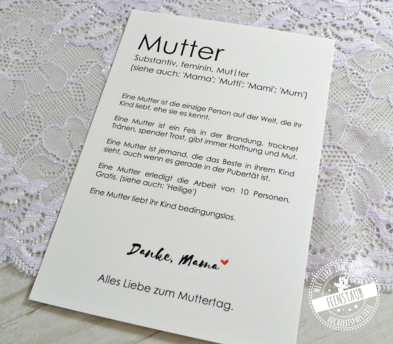 Muttertag Karte.Muttertagskarte Mut Ter