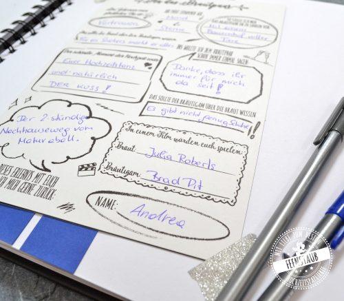 Gästebuch mit Fragen auf Hochzeit