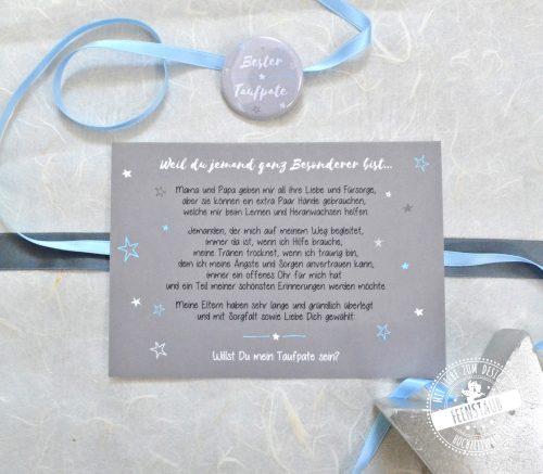 Den Taufpaten fragen mit dieser Karte und Button als kleines Geschenk