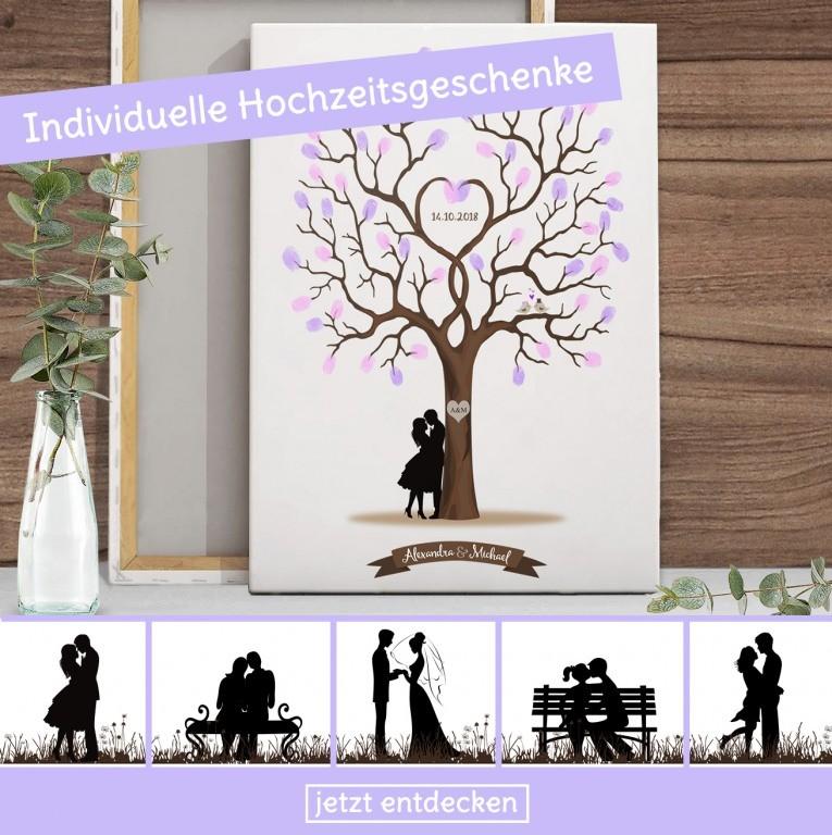 Bei diesem individuellen Hochzeitsbaum verewigt sich jeder Gast mit einem Fingerabdruck
