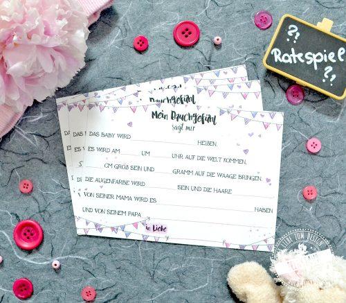 Ratespiel Karten für Babyshower