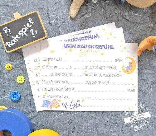 Spielidee für Babyparty, Karte zum Ausfüllen