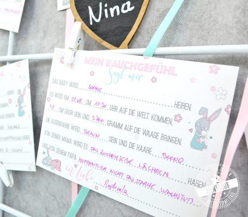 Ratespiel Karten für Babyparty
