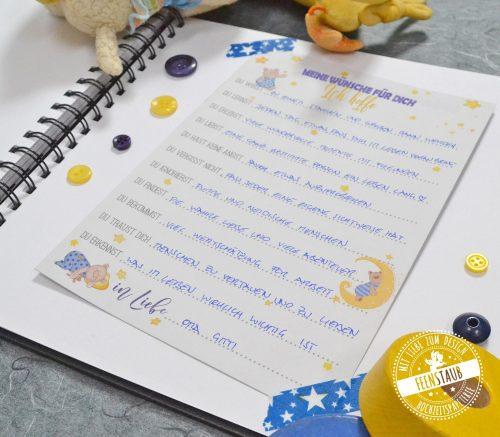 süße Gästebuchidee für Taufe mit guten Wünschen für das Baby
