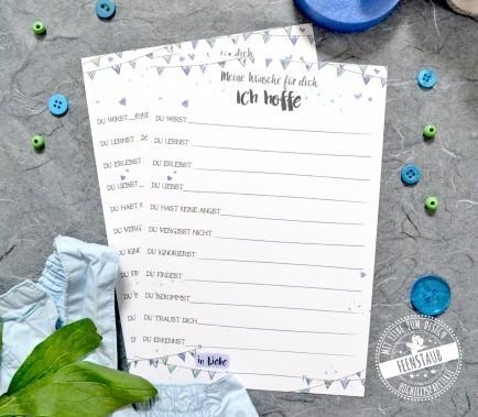 Gästebuch mit guten Wünschen für Neugeborenes
