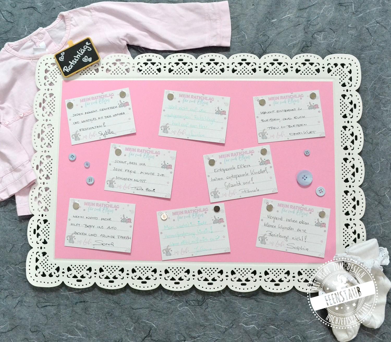 """Babyshower Party-Spiel 20 Karten: 60 WECHSELNDE Gute W/ünsche und Ratschl/äge f/ür das Baby Gutschein f/ür Eltern und ein /""""Orakel/"""" Spiel die kreative Idee zur Babyparty"""