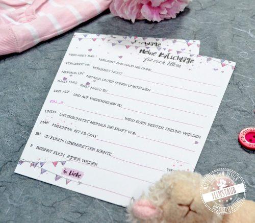Karten ausfüllen für Babyparty