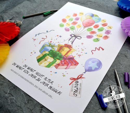 Fingerabdruckprint für Geburtstag