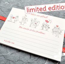 Gästebuchkarte für Hochzeit mit Comic Brautpaar