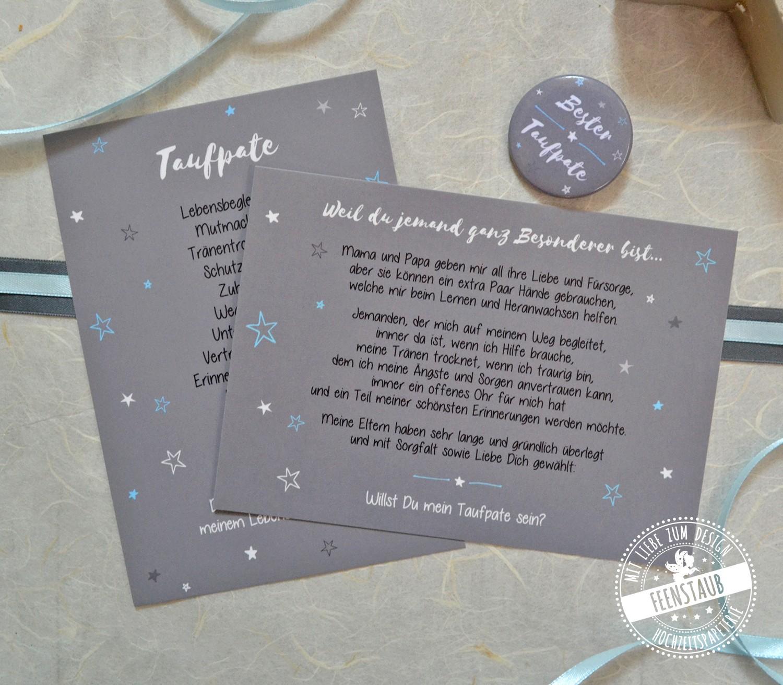 Karten mit Button als Geschenk für Taufpate